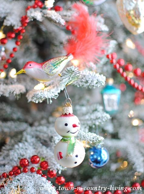 Vintage Snowman Ornament and Glass Bird