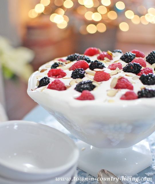 Mixed Berry Christmas Trifle. A light and easy dessert for the holidays!
