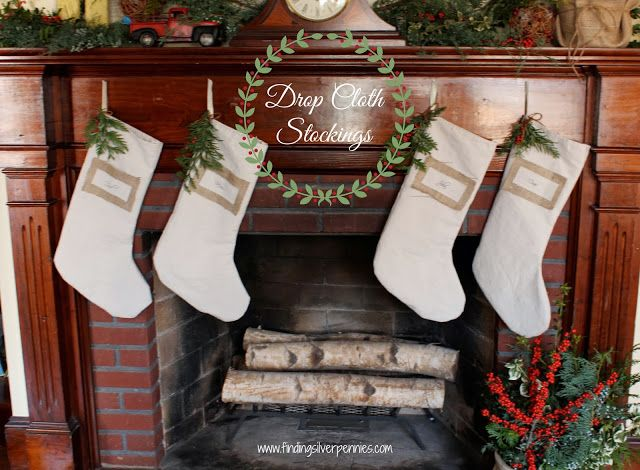 Christmas Stockings made from Drop Cloth