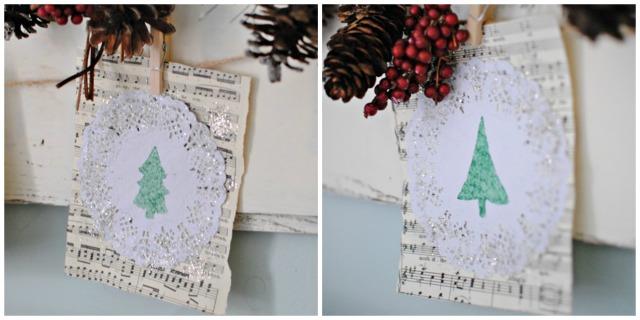 DIY Christmas Decor - Stenciled Christmas Tree Banner