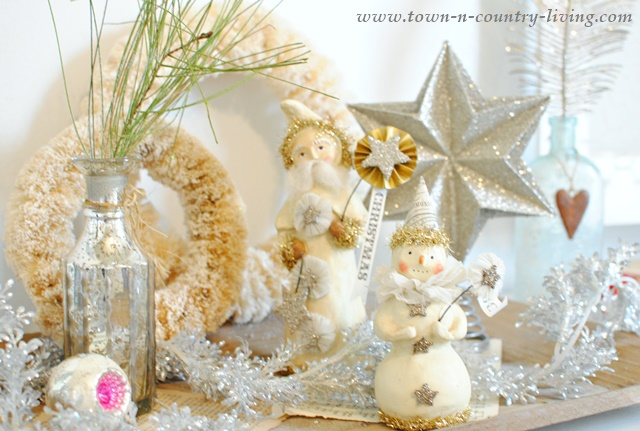 DIY Home Decor for Christmas. Paper Clay figurines paired with glittery ornaments.