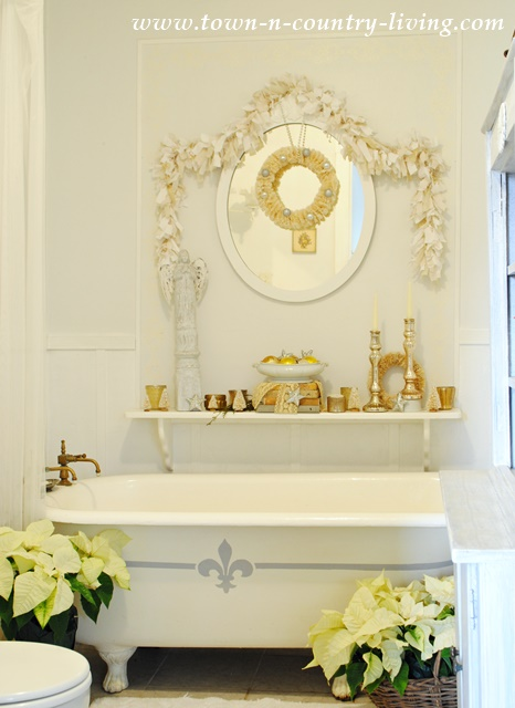 Christmas Decorating in a Farmhouse Bathroom