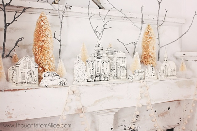 Free Printable. Download this gorgeous Christmas village drawings