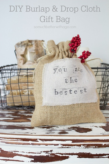 Burlap Drop Cloth Gift Bags