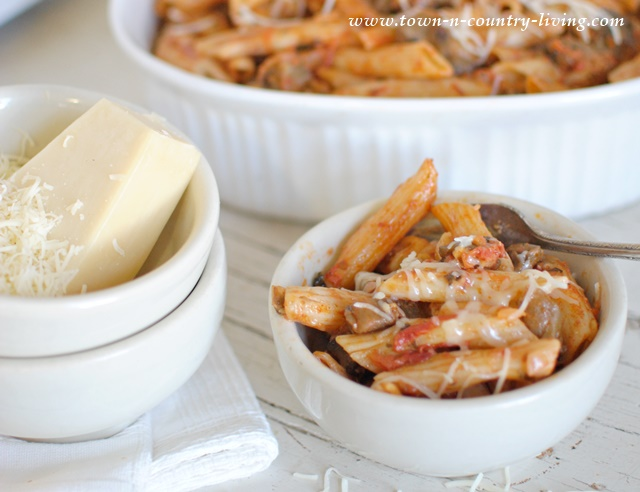 Penne Past with Eggplant. An easy pasta dish with all the great flavors of eggplant parmesan, except the eggplant isn't breaded.