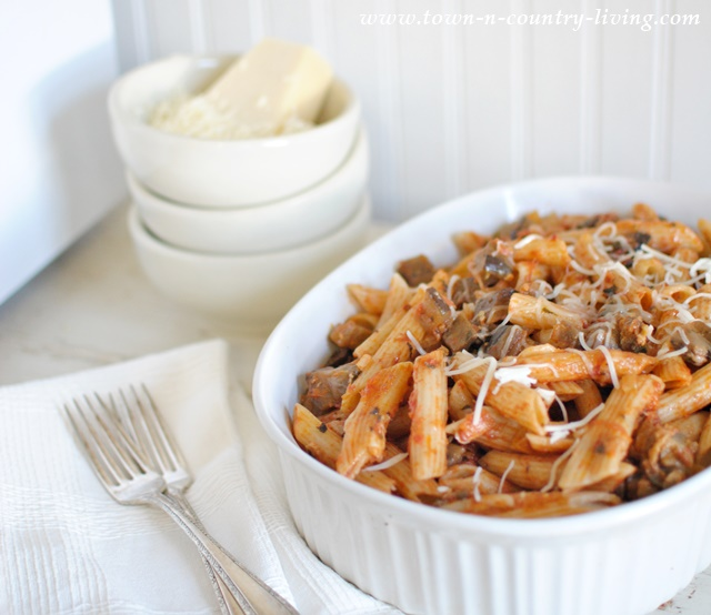 Penne Pasta with Eggplant  made with imported San Marzano tomatoes.
