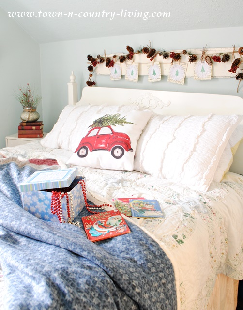 Farmhouse Bedroom decorated for Christmas