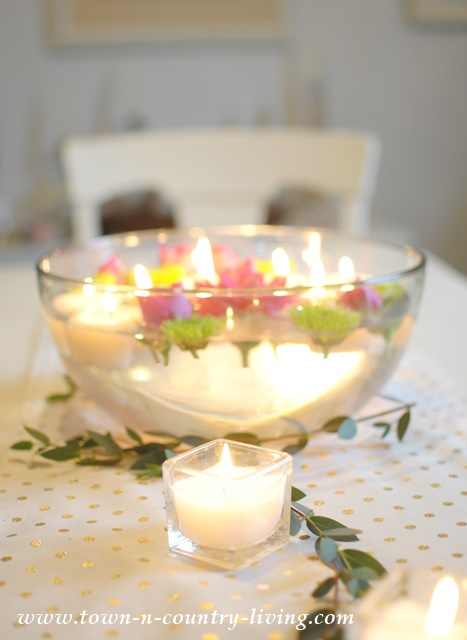 How to make floating tea light candles for a floral centerpiece.