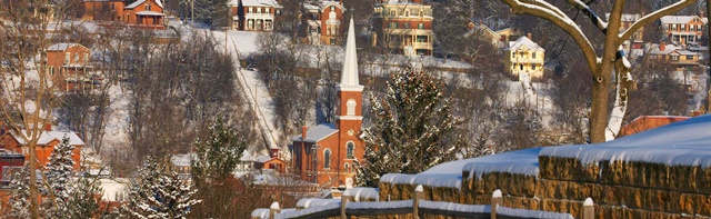 Panoramic view of Galena Illinois in the winter