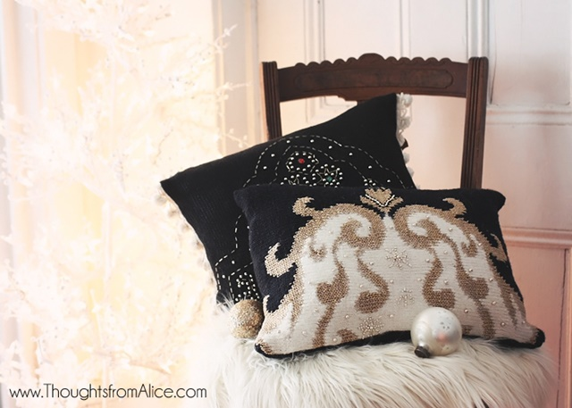 DIY Glam Pillows from Sweaters