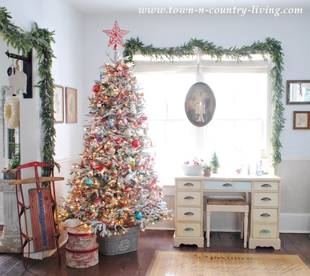 Vintage Style Christmas Tree in a Circa 1875 Farmhouse