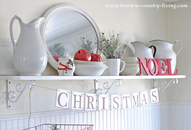 Open Farmhouse Kitchen Shelving Decorated for Christmas
