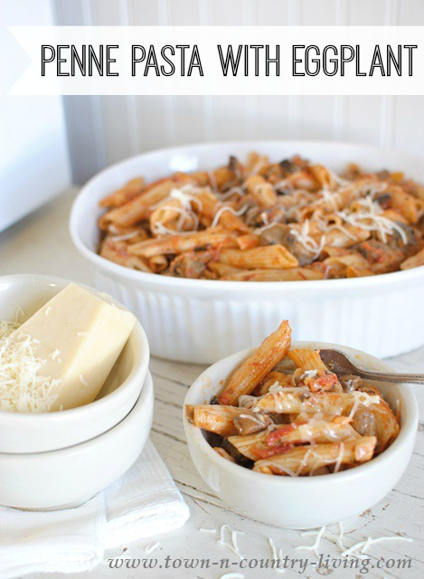 Penne Pasta with Eggplant. Tomatoes and 2 types of cheese make this quite the tasty recipe!