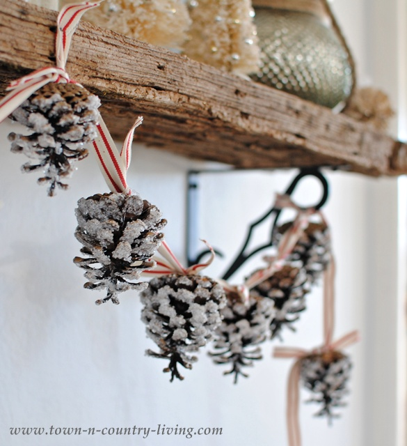 DIY Home Decor for Christmas. A Pine Cone Garland frosted with epsom salt.
