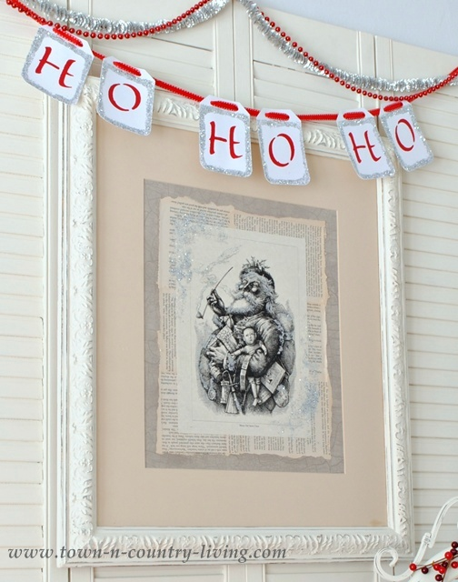 DIY Christmas Decor. Make your own vintage Santa artwork.