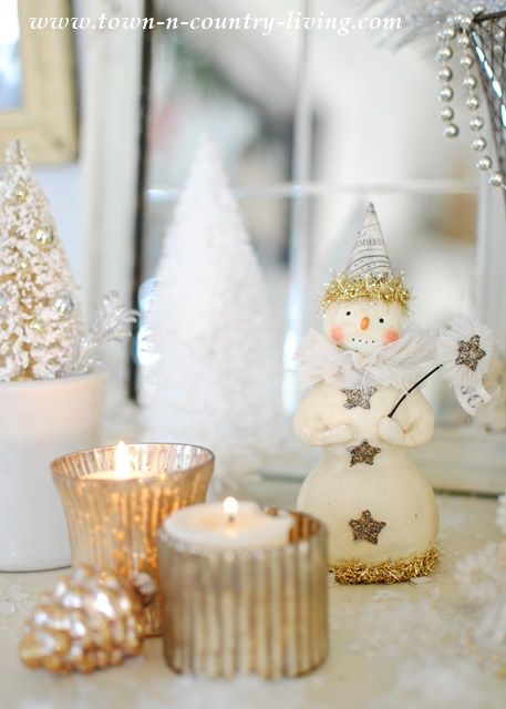 Paper Clay Snowman and Mercury Glass Votives at Christmas