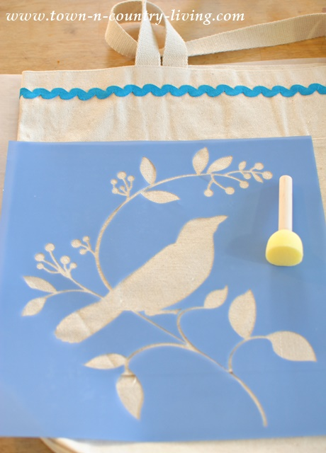 Bird Stencil is applied to canvas bag to create a flea market shopping bag.