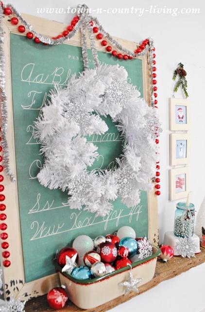 Vintage Christmas Mantel with White Christmas Wreath