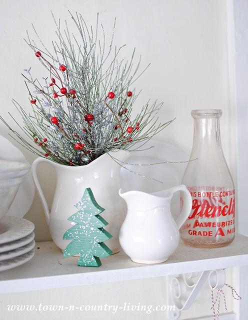 White Ironstone Christmas Vignette