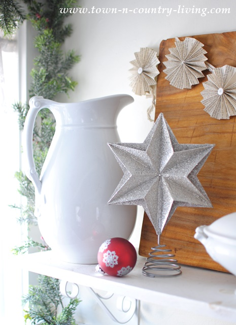 White Ironstone Pitcher paired with Christmas items