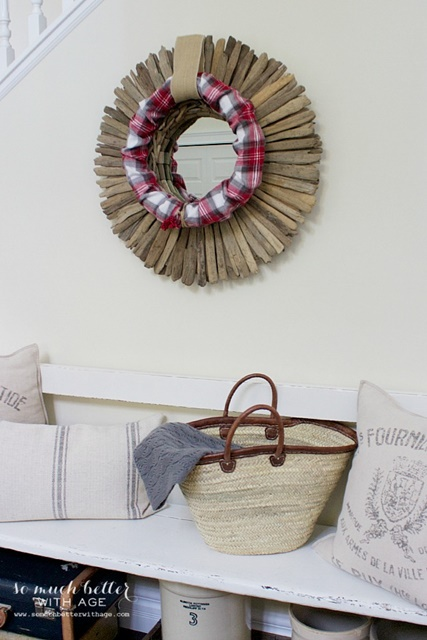 Christmas wreath from plaid pjs