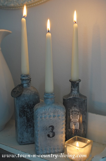 Altered Bottles become pretty candle holders