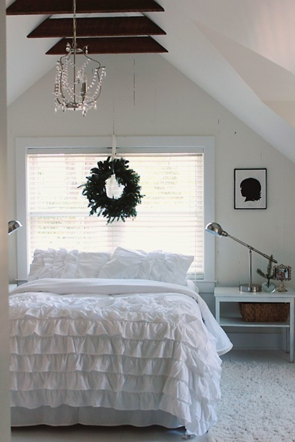 White Attic Bedroom with Shabby Chic Style