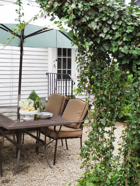 Outdoor Dining Area in Back Yard of Cape Cod Home