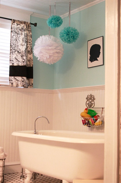 Blue and White Bath Room with Claw Foot Tub