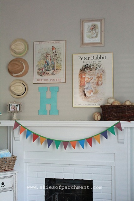 Beatrix Potter Theme Fireplace Mantel