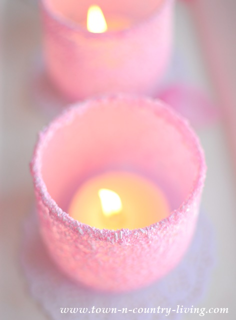 DIY Frosted Pink Votive Candle Holders
