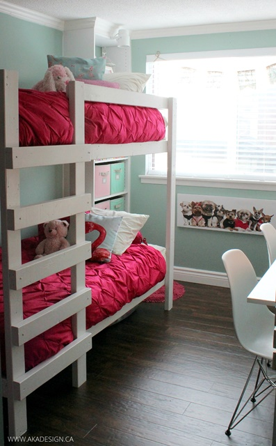 Girls' Bunk Beds with Pink Bedding