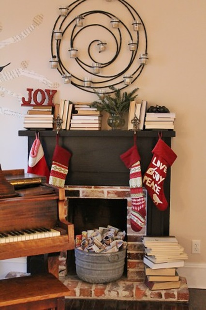 Music Room with Fireplace and Piano