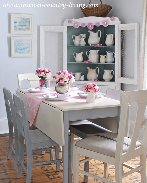 Pink Decor in a Farmhouse Dining Room