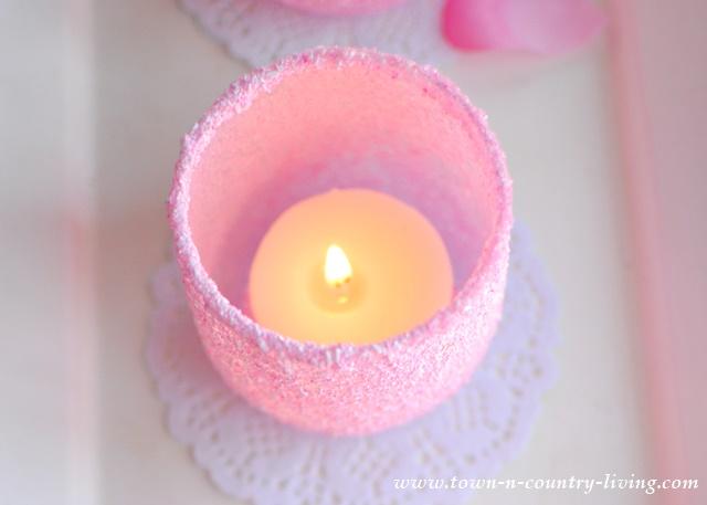 DIY Pink Frosted Votive Candle Holder