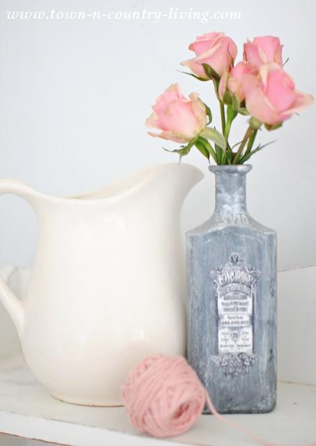 Pink Rose Spray in Vintage Painted Bottle