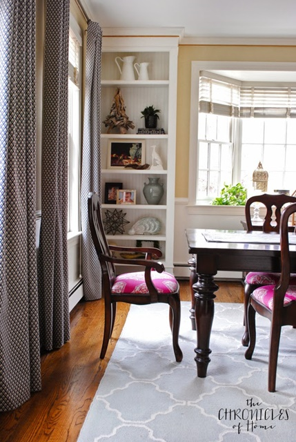Pink upholstered dining chairs