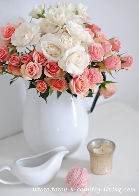 Spray Roses in Enamelware Pitcher