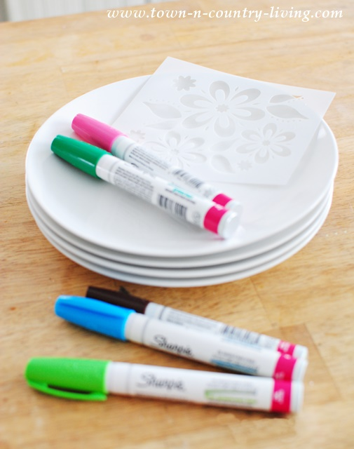 Supplies for Decorated Dessert Plates include a stencil and oil-based Sharpies.