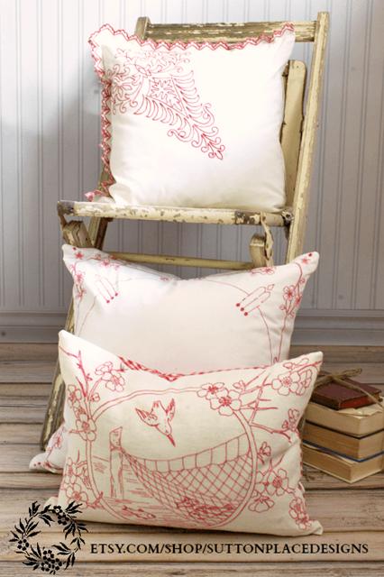 Vintage Redwork Pillows