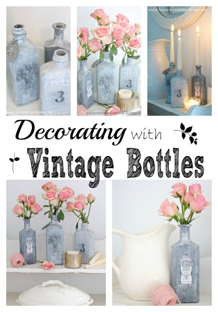 Decorating with Vintage Bottles. Three bottles, two ways.