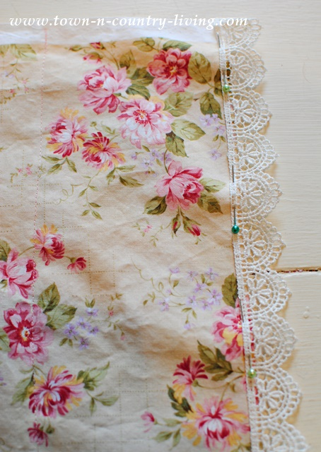 How to add embroidered lace to a pillow case