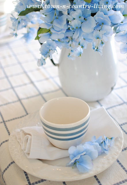 Blue and White Dishes with Vintage Damask Tablecloth