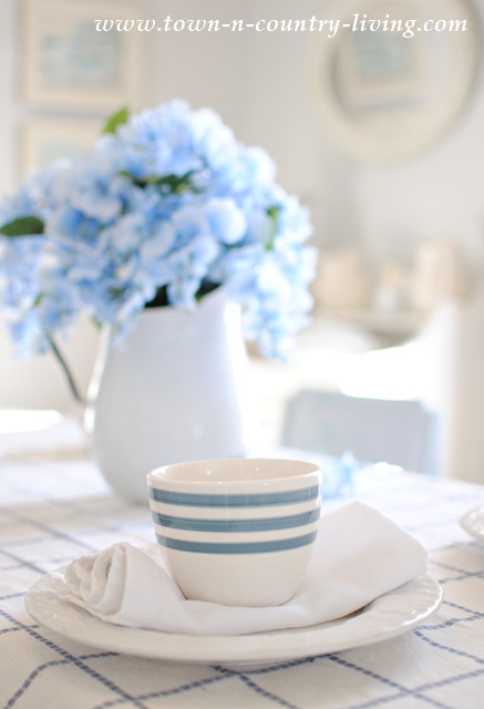 Blue and White Table Setting in Farmhouse Dining Room