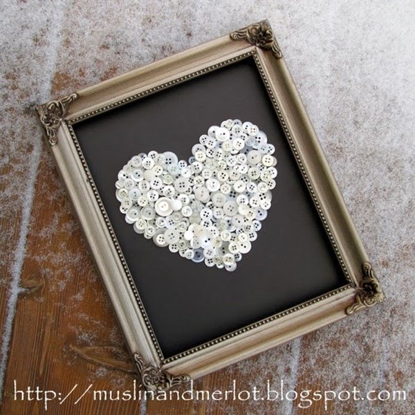 Framed Button Heart
