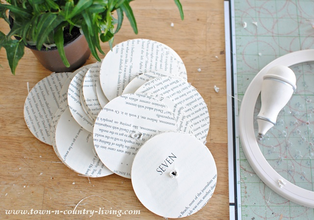 Book page circles made from the Martha Stewart circle cutter