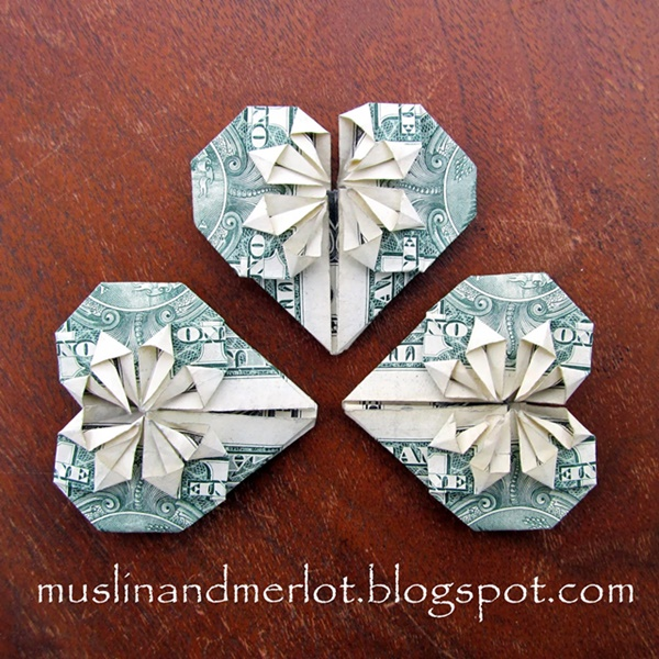 Folded Money Hearts