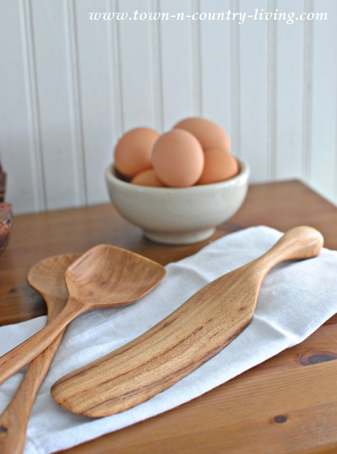 Hand carved wooden spurtle, a Scottish cooking utensil