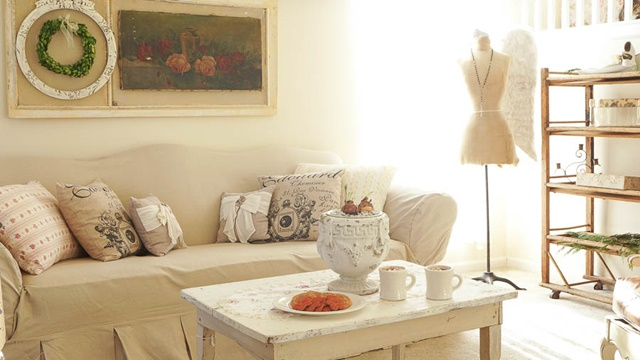 Shabby Chic Living Room at White Lace Cottage