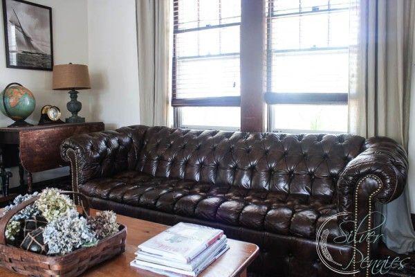 Chesterfield sofa in a coastal home